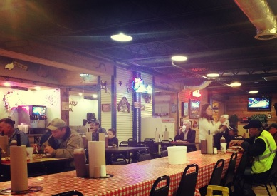 The atmosphere is great at C&J BBQ, where the large picnic-styled tables are covered in red checkered table cloths.