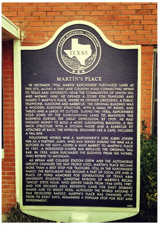 Martin's Place was designated as a Texas Historical Landmark in 2003.