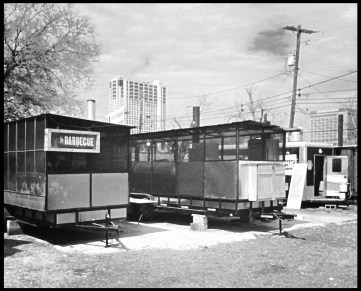 La Barbecue is comprised of three trailers, two containing large smokers and one for food service.