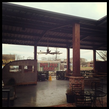 Outside the dining room, Vitek's has a nice biergarten complete with seating in an old converted RV!