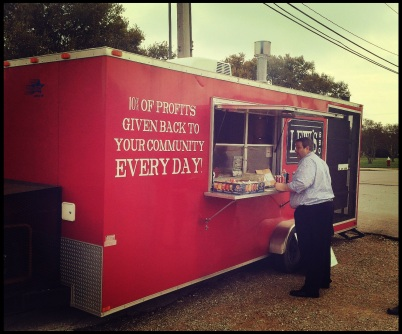 Lew's BBQ trailer is located at 123 Walton Dr. in College Station, Texas.