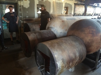 The horizontal offset smokers at Franklin BBQ are made from 1000gal propane tanks.